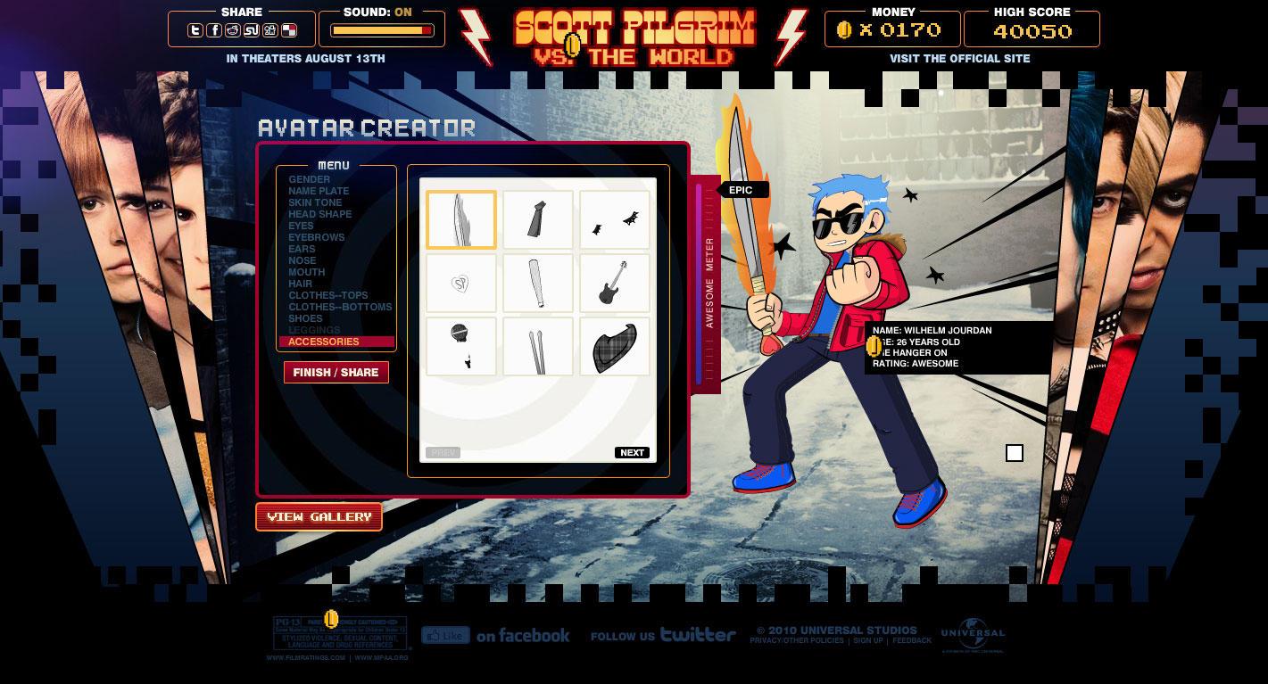 Scott Pilgrim VS The World Avatar Creator